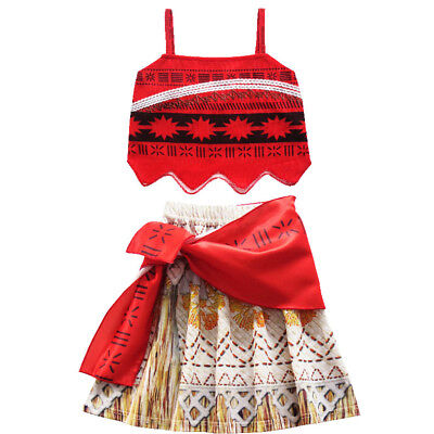 Girls Kids Movie Polynesia princess Moana 2-Piece Cosplay Costume Birthday Dress