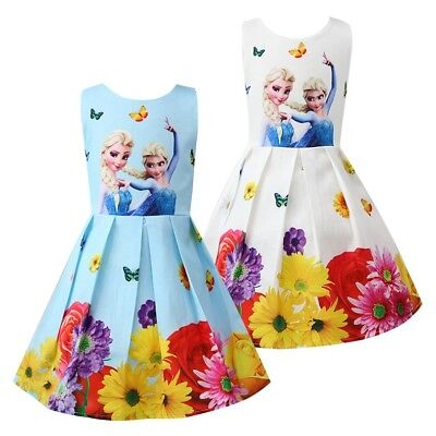 ids Frozen Anna Elsa Print Casual Party Birthday Dresses K93 (Kids Frozen Kostüme)