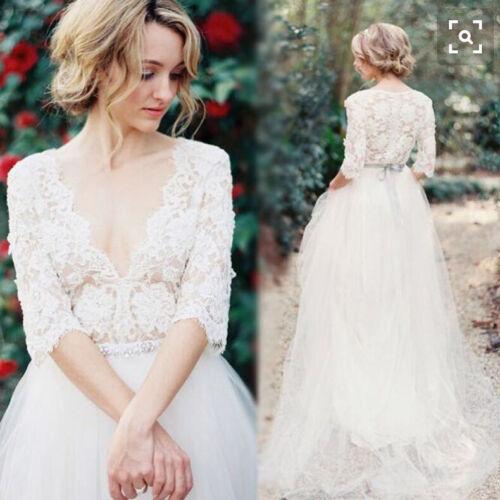 Wedding Bolero Bride Jacket Lace Shawl Trumpet Sleeve V Neck White Ivory Custom