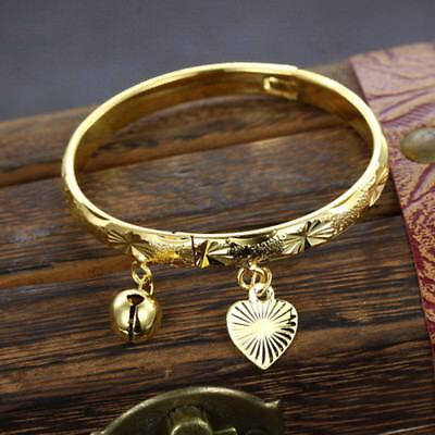 18K Gold Plated Bell Heart Bangle Infant Boys Girls Baby Jewelry Bracelet Gift u