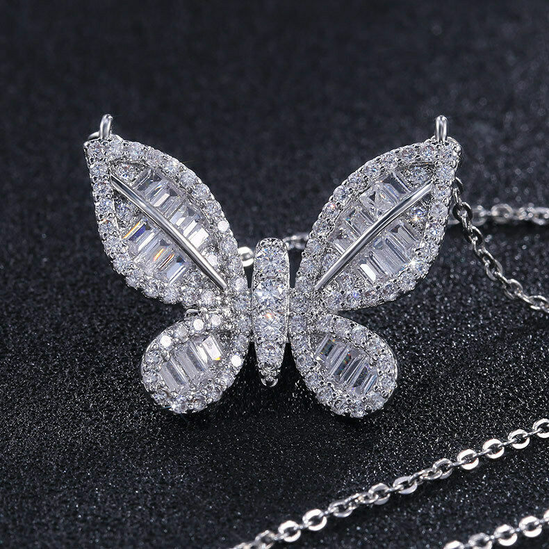 14K White Gold Over 1.00 Ct Round Cut Diamond Butterfly Women Pendant Necklaces