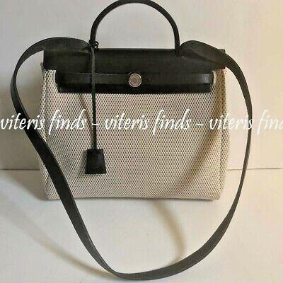 Authentic Hermes Kelly Herbag 31 Beige Toile  Black Leather Shoulder Bag