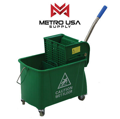 24qt Commercial Mop Bucket With Wringer Combo Rolling Cleaning Cart Side Press