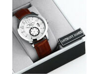 BRAND NEW ANTHONY JAMES, LUXURY BUSINESS WATCH, REAL LEATHER BRACELET, DATE SECONDS, STAINLESS STEEL