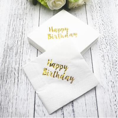 10pcs Bronzing Happy Birthday Party Paper Napkins Decoration wedding Party
