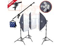 Studio Lights Lighting Kit 3375w 3 x 5 Light Head Softbox Continuous Lighting Ki
