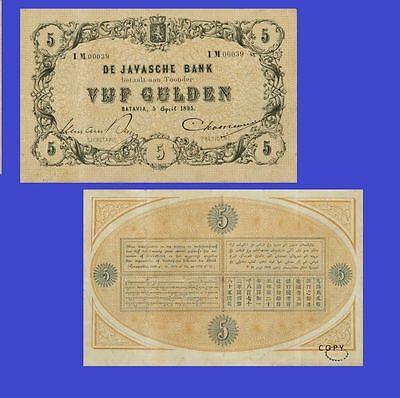 NETHERLANDS INDIES. Javasche Bank. 5 Gulden, 5.4.1895.  UNC - Reproductions