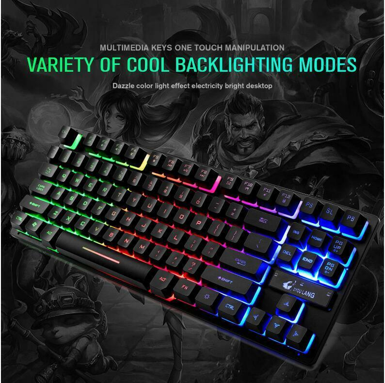 Wired Gaming Keyboard 87 keys MIX/RGB Backlit Keyboard For D