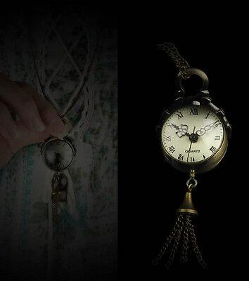 Unique Vintage Bronze Quartz Ball Glass Pocket Watch Necklace Chain Steampunk
