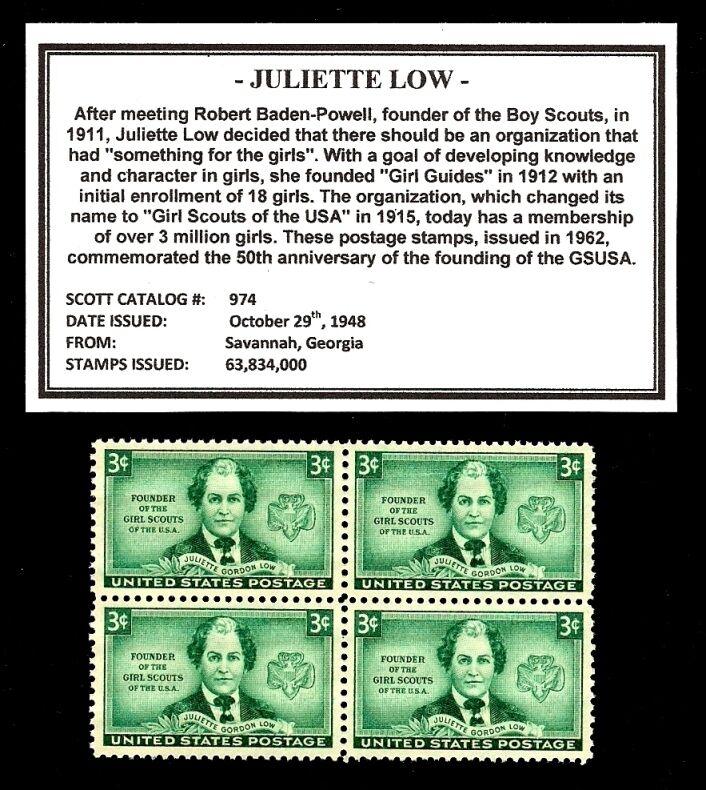 1948 - Juliette Low  (GSUSA) - #974 - Block of Four Vintage U.S. Postage Stamps