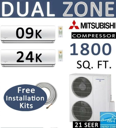 33000 Btu Dual Zone Ductless Mini Split Air Conditioner Heat Pump,9000 + 24000