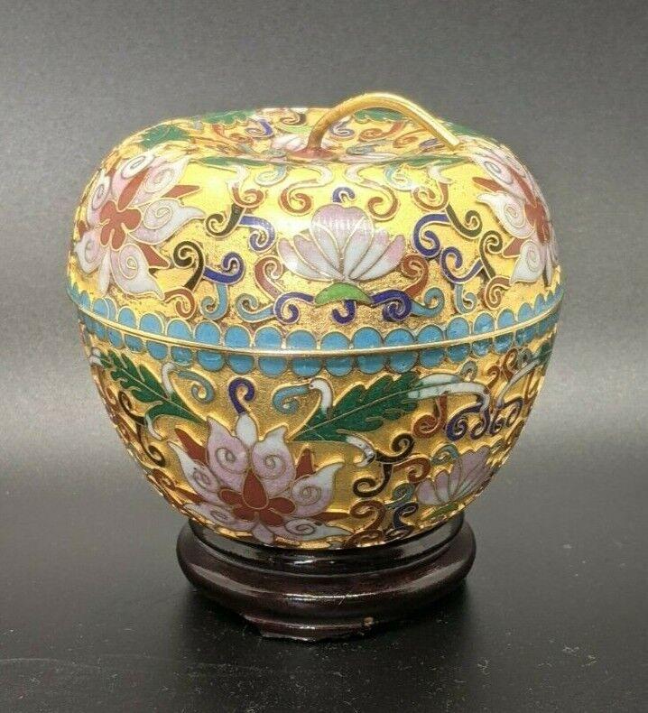 Vintage Cloisonne Painted Enamel On Brass Apple Trinket Box Lotus on Wood Stand