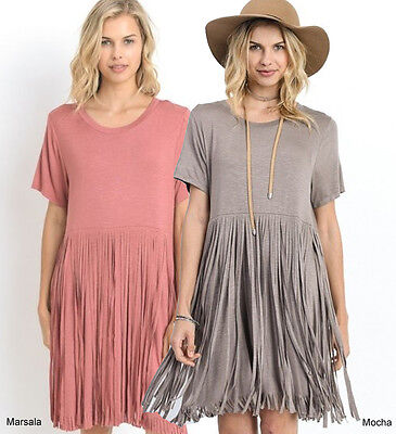 S M L Jodifl Soft Knit Fringe Bottom T Shirt Tunic Top Boho Loose Swing Dress