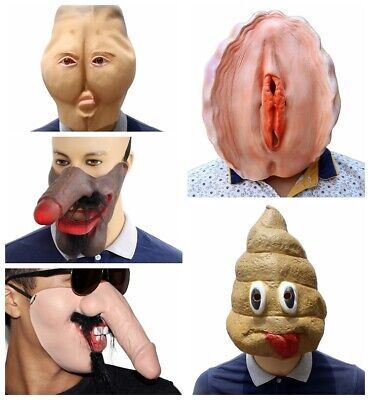 Funny Spoof Diy Props Shell Butt Stool Dick Soft Latex Mask Halloween Party Prop - Diy Latex Halloween Mask