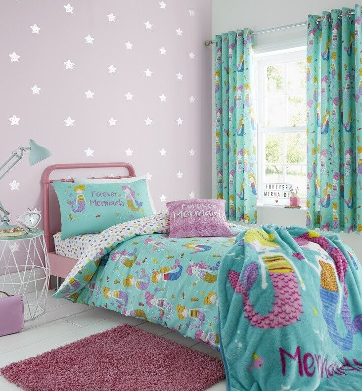 Catherine Lansfield Kids Mermaid Blue//Pink Duvet Set Fitted Sheet /& Tail Blanket