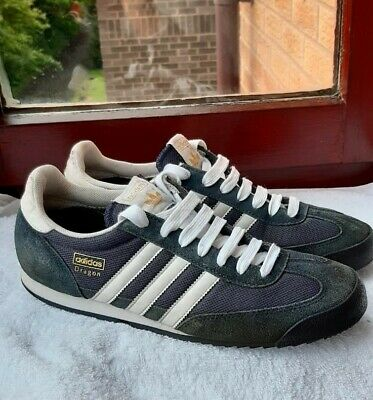 Mens Adidas Dragon Navy White Suede Canvas Trainers Size UK 10 EUR 44,5