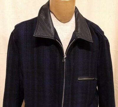 Pure Stuff Mens Sz L Wool Blend Coat Jacket Genuine Leather Trim Quilted Lining for sale  Shipping to India