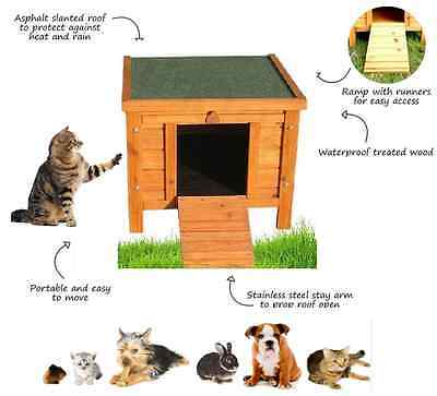 Small Dog House Wooden Pet Kennel Pig Cat Shelter Indoor Outdoor Garden Patio UK