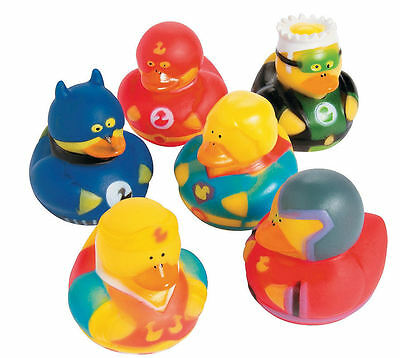 6 SuperHero Rubber Duckies - Super Hero Rubber Ducky 6pcs Party Favor Duck - NEW (Superhero Rubber Ducks)