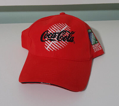 COCA COLA RUGBY WORLD CUP 2003 RED HAT CAP PROMO ITEM FOOTBALL! COKE SOFT DRINK