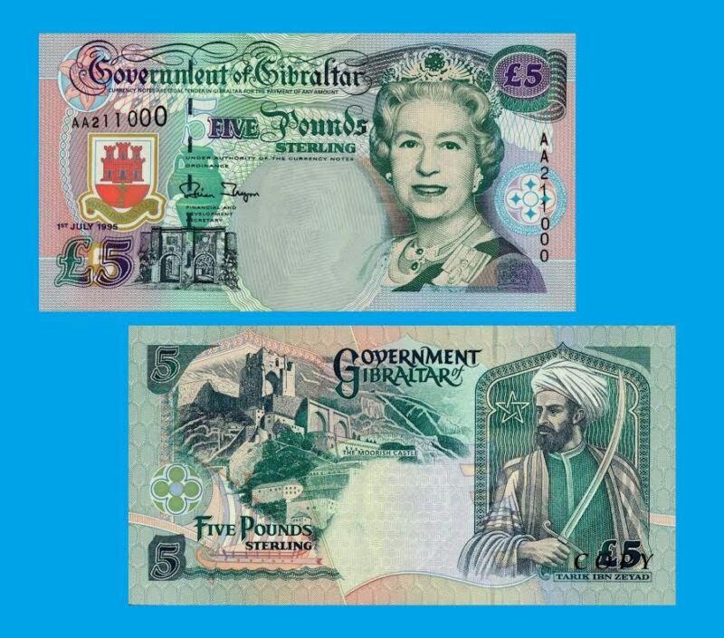 Gibraltar 5 Pounds 1995. UNC - Reproductions