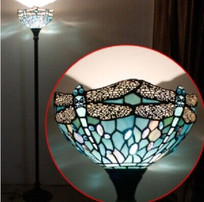 Tiffany Style Floor Lamp Torchiere Light Stained Glass Lighting Vintage Standing