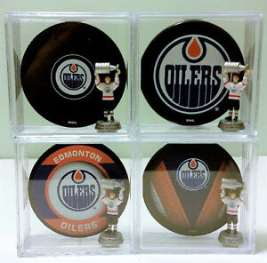 Edmonton Oilers Puck Shadowboxes w/ Stanley Cup Gretzky Figurine