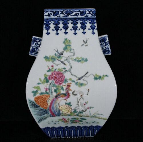 """10.4"""" Qianlong Marked Old Blue White Color Porcelain Flower Birds Bottle Vase"""