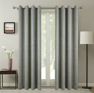 Chenille Blackout Insulated Curtains 100Wx84L (2) NEW