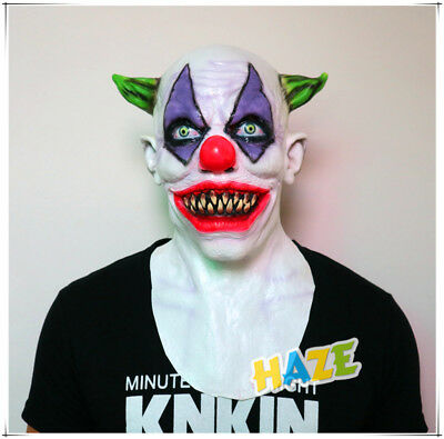 Halloween Creepy Evil Scary Green Horned Rubber Latex Clown Mask Costume - Non Scary Halloween Costumes