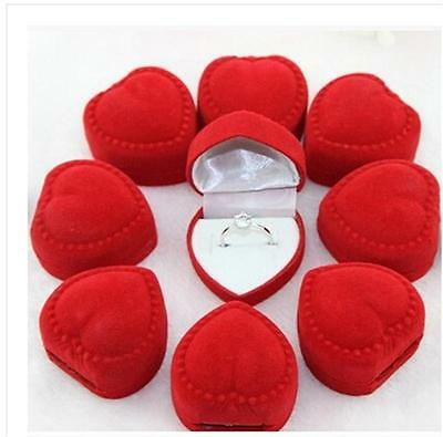 10x Velvet Cover Red Heart Shaped Jewelry Ring Show Display Storage Box Gift Sm