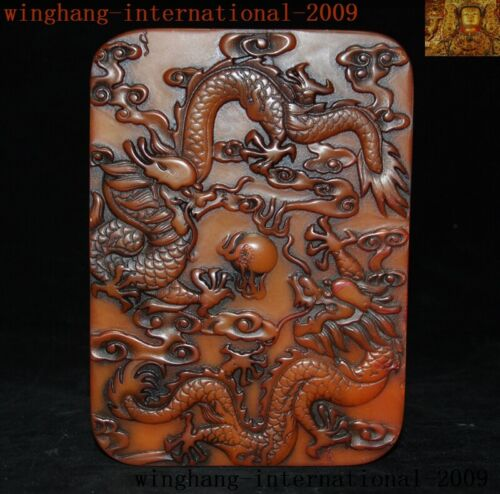 Old Chinese Natural Tianhuang Shoushan Stone carve Dragon Text Seal stamp signet