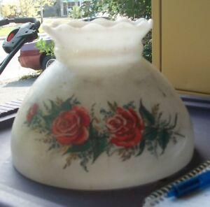 beautiful Milkglass and Red Rose Hurricane Lampshade