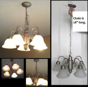 Perfect 5 Light Brush Nickel Chandelier With Frosted Shades