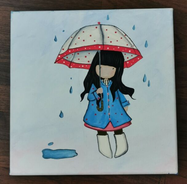 Canvas Painting- 'Little girl with umbrella'