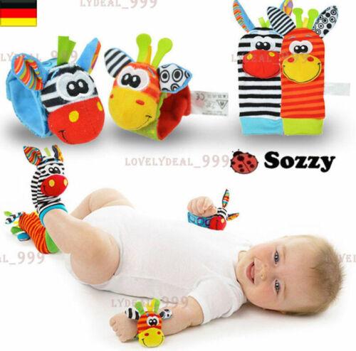 4 Stück Handgelenk-Rassel  Baby Kinder Lernspielzeug Motorik  Kontrast Bunt De