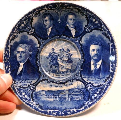 """1905 Lewis & Clark Expo Souvenir 6"""" Saucer, Roland & Marcellus, SCARCE"""