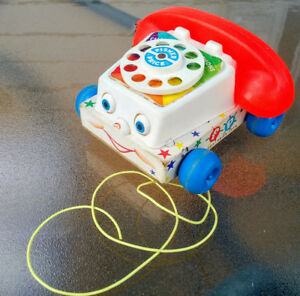 VINTAGE FISHER PRICE CHATTER BOX TELEPHONE PHONE PULL TOY #747