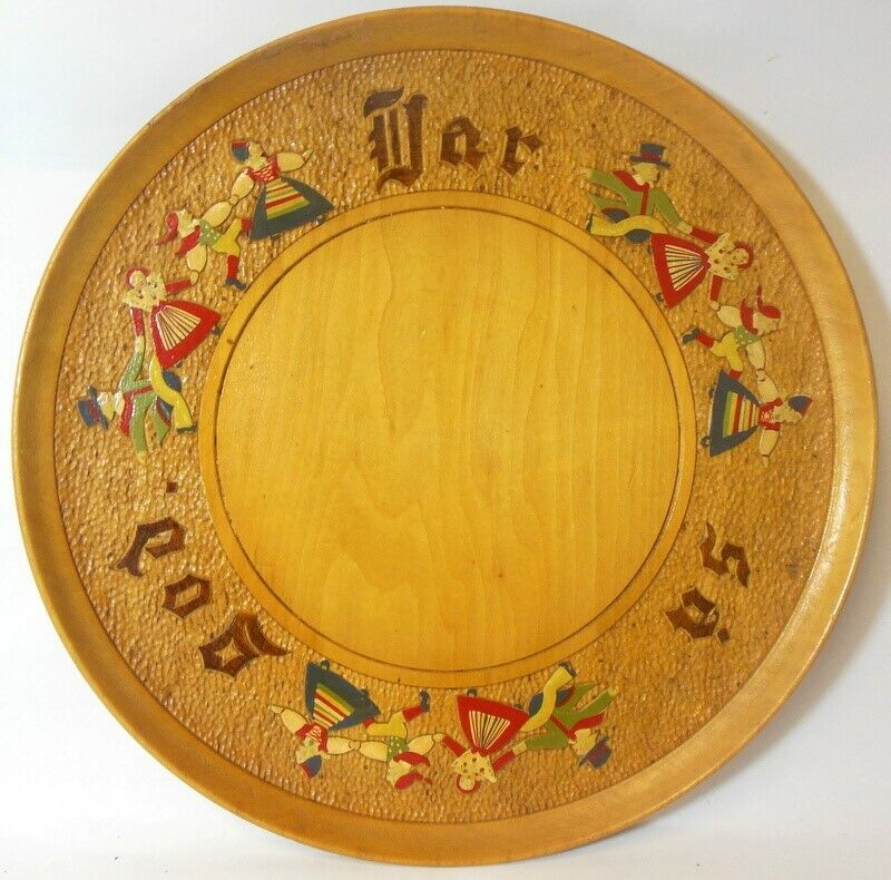 Vtg Carved Wood Swedish Plate Wall ART Tray Charger CHILDREN Signed Scandinavia