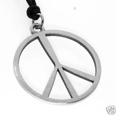 Silver PEWTER No War PEACE SIGN Hippie LOVE 60s PENDANT - 60s Peace Sign