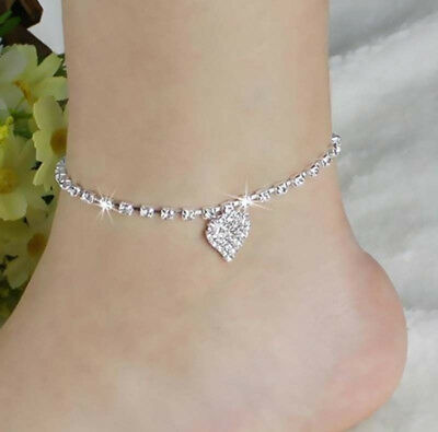 Women Lady Crystal Rhinestone Love Heart Anklet Ankle Bracelet Chain Jewelry