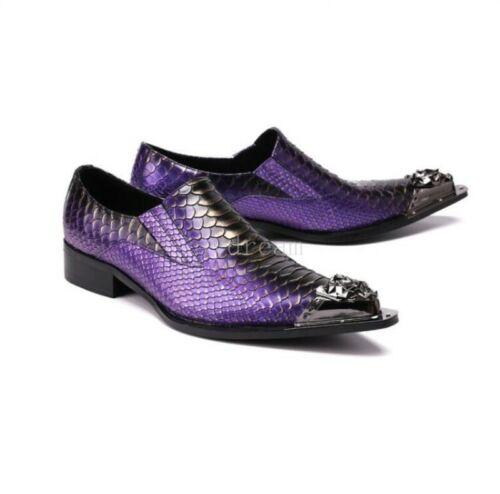 Men/'s Oxfords Nightclub Punk Low Top Shoes Snake Pattern Formal Steel-toed Shoes