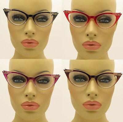 New Clear Lens Cat Eye Glasses Retro Vintage Style Women's Fashion Crystal (Crystal Cat Eye Glasses)