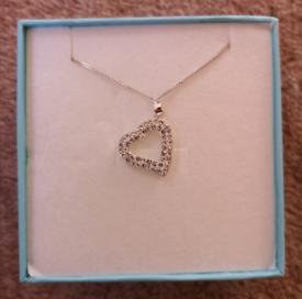 New - Sterling Silver Diamanté Heart Necklace
