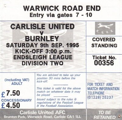 Ticket - Carlisle United v Burnley 09.09.1995