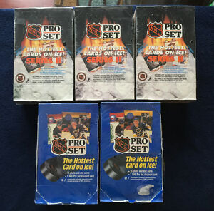 Unopened Boxes of Hockey and Baseball cards from 1991