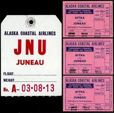 3 Super Rare 1952 Alaska Coastal Airlines Flight Tickets Sitka Juneau   Bonus