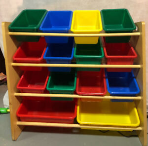 Toy Bin Wood with Plastic bins