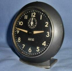Nice Working Vtg Westclox Baby Ben 1949-56 Style 6 Wind-up Gun Metal Alarm Clock