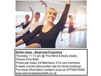 Adult Ballet Class - Beginner/Coaching